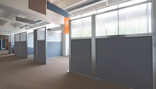 Create instant office or private work stations with the Hush Panel Configurable Cubicle System.