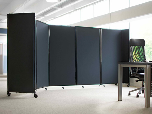 The Room Divider 360 used in an office to create a private workstation.