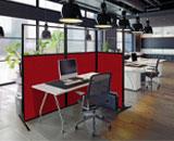 Work station screen in an open office
