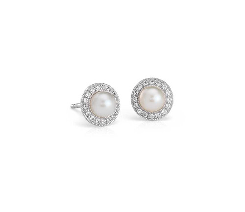 White Topaz Halo Earrings
