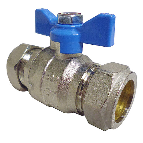 Altecnic Intaball 22mm Isolating Ball Valve, Blue Butterfly Handle