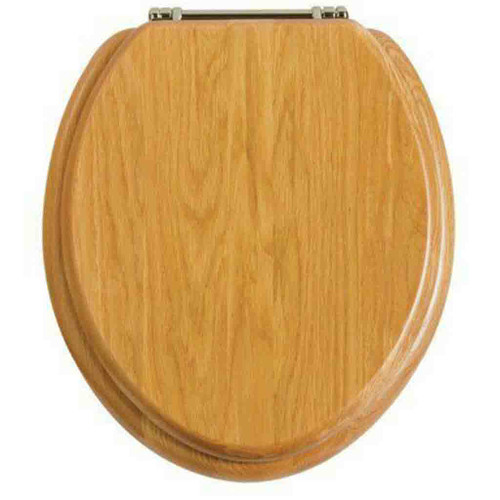 Heritage Oak Toilet Seat with Soft Close Chrome Hinges