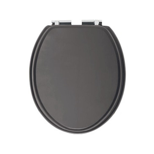 Heritage Graphite Toilet Seat with Soft Close Chrome Hinges