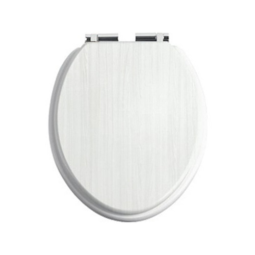 Heritage White Ash Toilet Seat with Soft Close Chrome Hinges