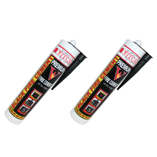 Black Fire Cement 1250 C - Two Pack - 310ml for Fireplace, Stove, Boilers etc