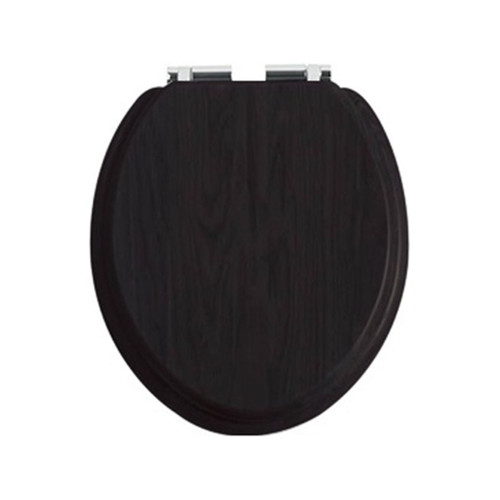 Heritage Black Toilet Seat with Soft Close Chrome Hinges