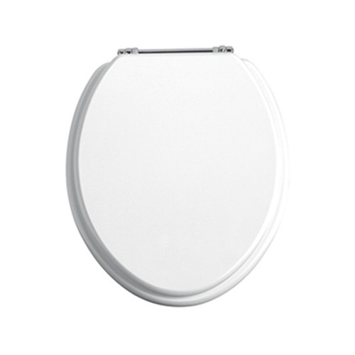 Heritage Standard Hinge Toilet Seat, White Gloss, Chrome Hinges
