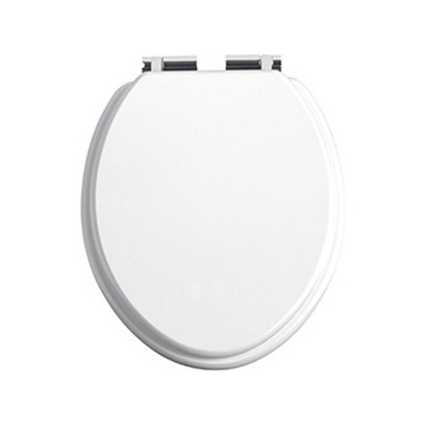 Heritage White Gloss Toilet Seat with Soft Close Chrome Hinges