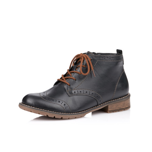 CASUAL SIDE ZIP LACE BOOT BROGUE BLACK R3322-01