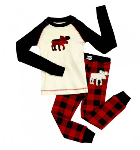 KIDS 2-10 PJ SET MOOSE PLAID (KID140) (KID140)