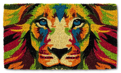 ABSTRACT LION FACE DOORMAT