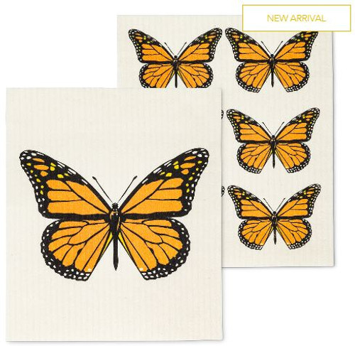 S/2 MONARCH BUTTERFLY DISHCLOTH
