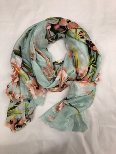 GREEN FLORAL SCARF