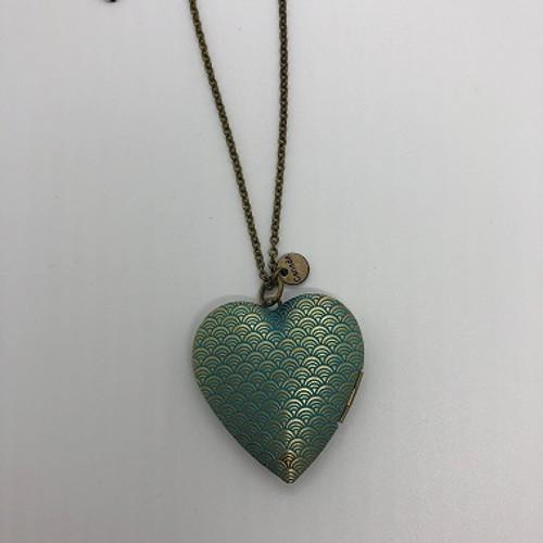 NECKLACE HEART LOCKET BLUE (JLAB02BL) (JLAB02BL)