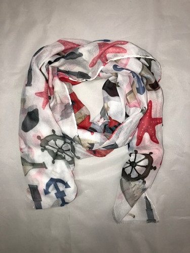 LIGHT HOUSE SCARF RED (MSF1070) (MSF1070)