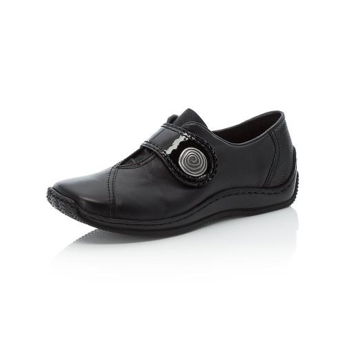 SLIP ON SHOE VELCRO STRAP W.METAL BUTTON BLACK L1760-00