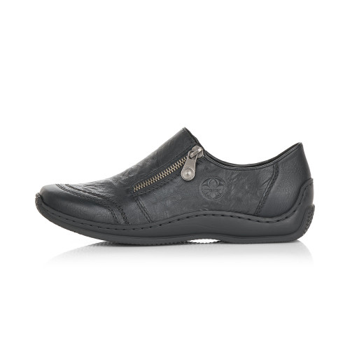 SLIP ON SHOE SIDE ZIP DETAIL BLACK L1771-00