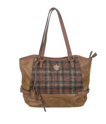 TOTE BAG PLAID DETAIL CHESTNUT/WHISKY H1066-22
