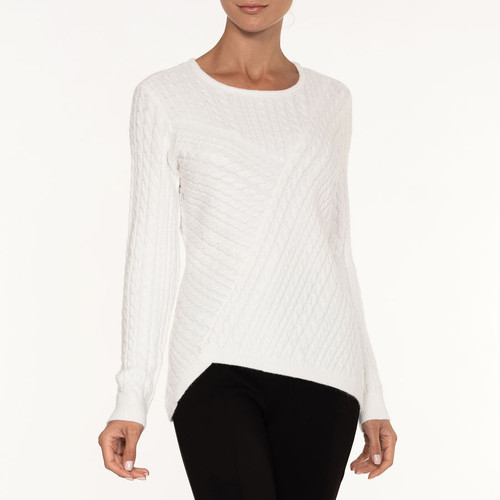 SOFT CABLE CREW SWEATER A36110