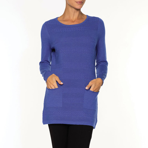 CREW TUNIC SWEATER/POCKETS A36127 BLUE