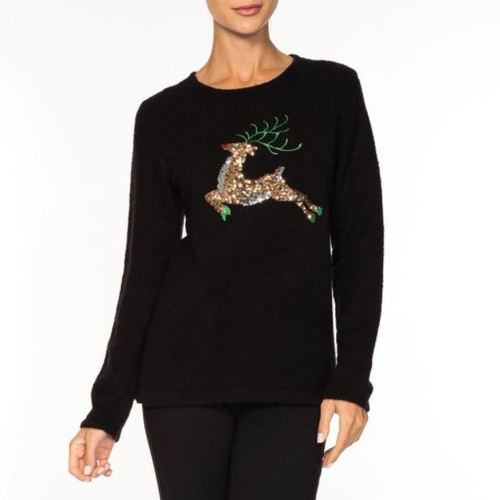 REINDEER SWEATER A36178 BLACK