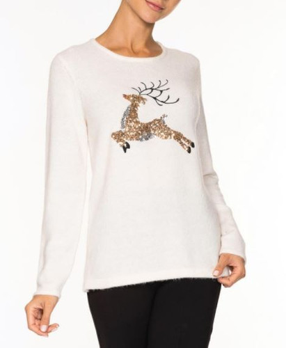 REINDEER SWEATER A36178 OFFWHITE
