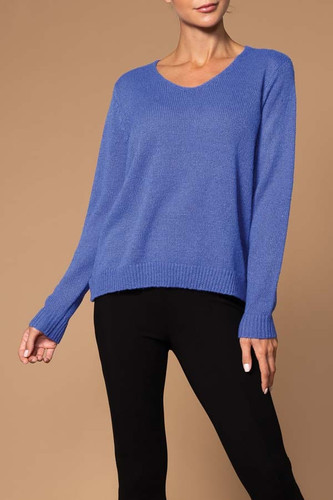SOFTEE V MOHAIR SOLID SWEATER EW25015 BLUE