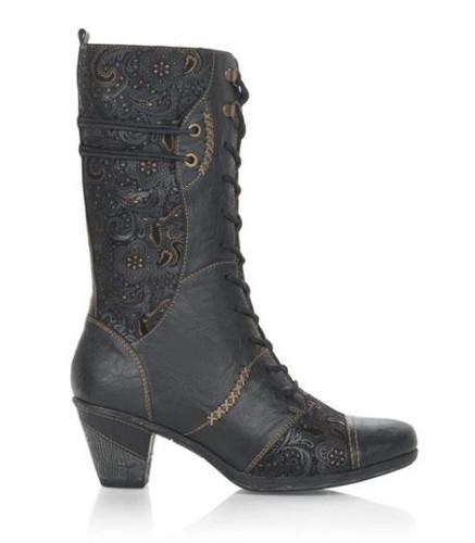 GRANNY BOOT MID BLOCK HEEL BLACK D8791-03