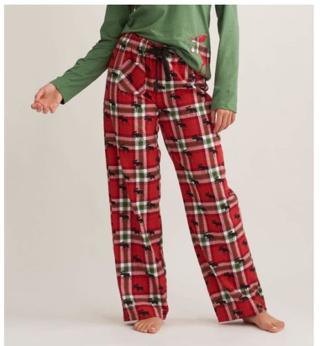 WOM FLANNEL PANTS HOLIDAY MOOSE PA8WIMO209
