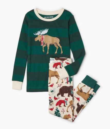 WOODLAND WINTER KIDS APPLIQUE PJ SET PJCLAND001