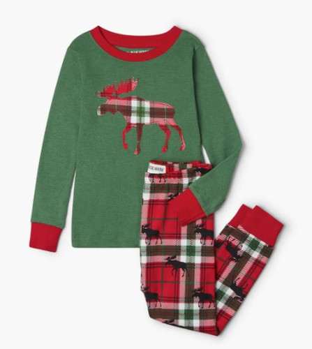 LBH KIDS APPLIQUE PJ SET HOLIDAY MOOSE PJCWIMO209