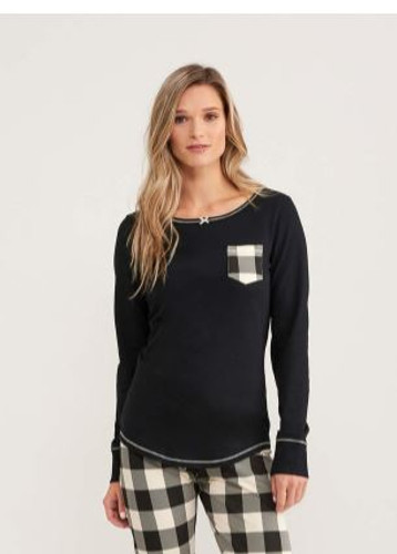 CREAM PLAID WOMEN'S STRETCH JERSEY TOP TS1BLCK003