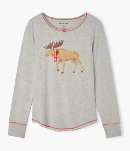 MOOSE ON GREY WOM STRETCH JERSEY TOP TS1WIMO229