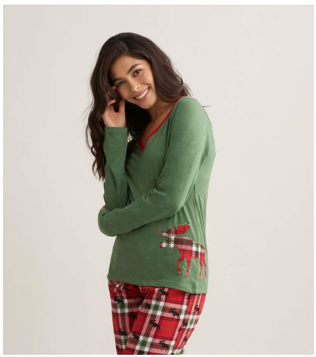 HOLIDAY MOOSE ON PLAID WOM LONG SLV TEE TS1WIMO209