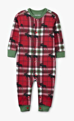 HOLIDAY MOOSE ON PLAID BABY UNION SUIT US0WIMO209
