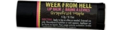 LIP BALM WEEK FROM HELL - GRAPEFRUIT/MAPLENT/BUTTERCREAM (LBSWEE)