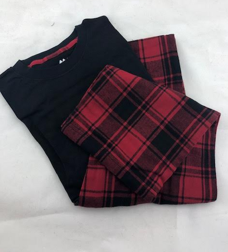 MENS PJS 2PC FLANNEL PANT L/S TEE (2182201)