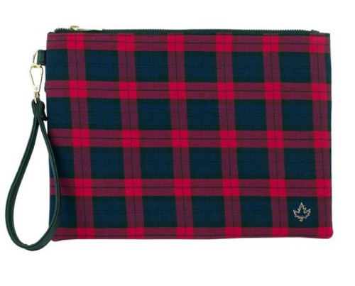 RED PLAID CLUTCH BAG WITH MAPLE LEAF PIN (3678802093)