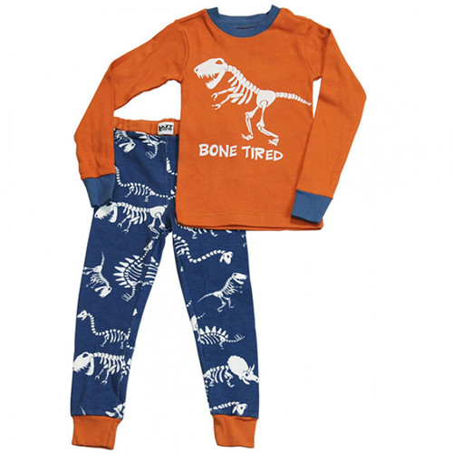 KIDS PJ SET DINO BONE TIRED 2-8
