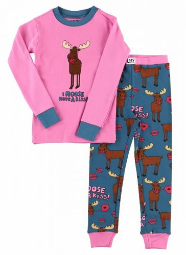 KIDS PJ SET MOOSE HAVE A KISS 4-10 KID354