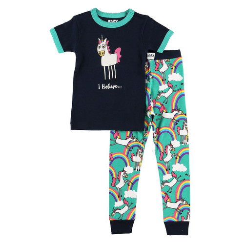 KIDS S/S PJ SET I BELIEVE UNICORN 4-10 KSS327