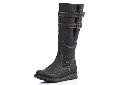 TALL  BOOT BUCKLES LOW WEDGE WP BLACK