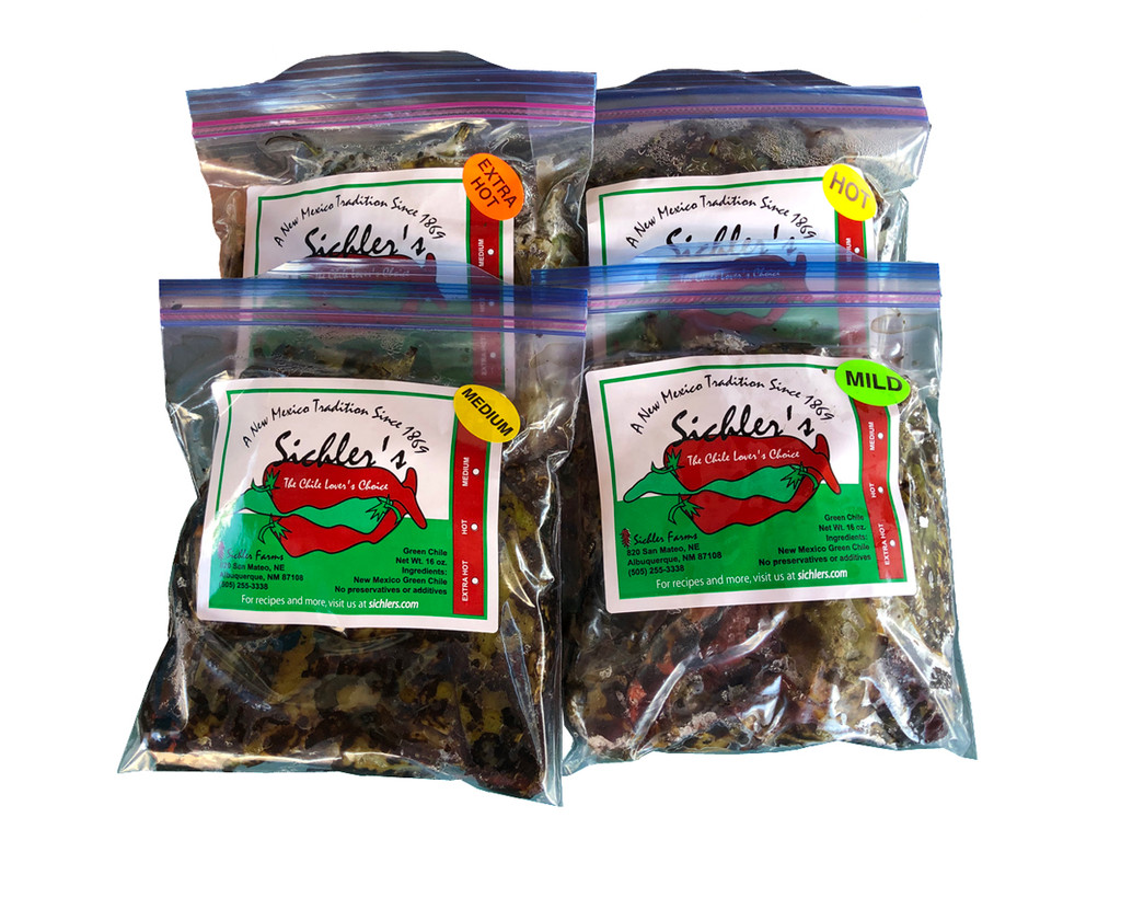 Sichler Farms frozen green chile  comes in the following varieties: 1904 Mild, Big Jim Medium,  Sandia Hot, and Rattlesnake X-hot.
