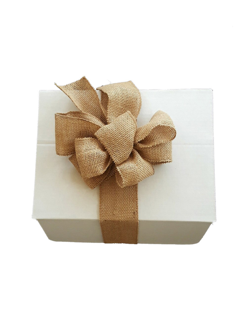 """A beautiful white, sturdy 12"""" x 9"""" gift box with a burlap bow can be added to complete the Ceramic Chile Strand gift package."""
