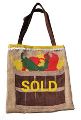 Upcycled Tote Bag - Basket of Chiles
