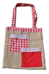 Upcycled Tote Bag - Red and White Chile