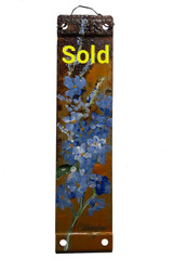 Vintage Metal Painting - Blue Wildflowers