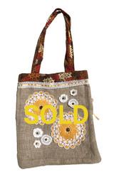Upcycled tote Bag - Brown floral