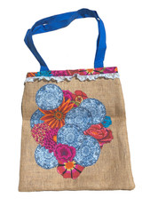 Upcycled Tote Bag - Blue Floral
