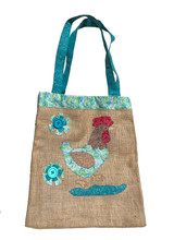 Upcycled Tote Bag - Turquoise Chicken